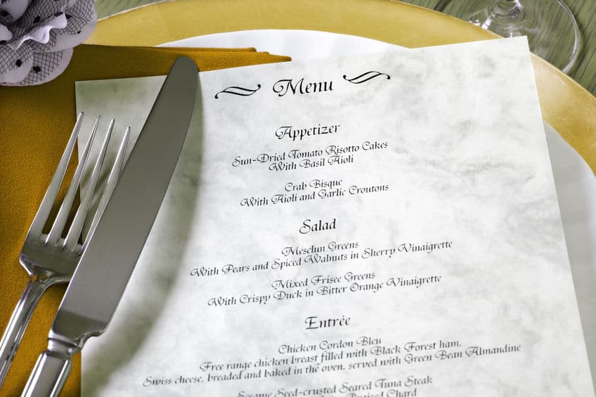 Dinner menu for a wedding or luxury evening meal - note, made up menu