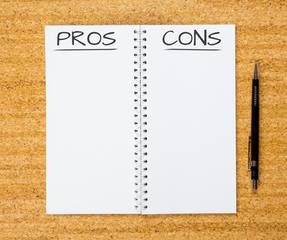 notebook with pros and cons written